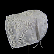 Antique Whitework Embroidery Baby Bonnet c.1830 Christening Cap