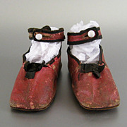 Antique Red Leather Baby Shoes c.1860 Victorian Child