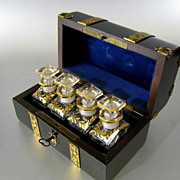 SALE Antique French Scent Casket with 4 Perfume Bottles