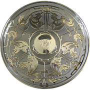 Art Nouveau Sterling Silver Overlay Tazza c.1900 LaPierre  Antique Pedestal Cake Dessert Plate
