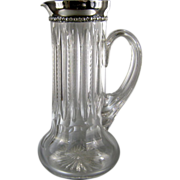 SALE Antique Sterling Silver Cut Glass Pitcher c.1898 Gorham