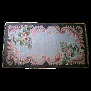SALE Vintage Floral Hooked Rug c.1900-30 Signed CP