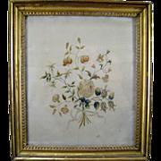 Antique Silkwork Embroidery Bouquet c.1800 Gilt Frame