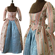 SOLD Robe a l'Anglaise & Quilted Petticoat c.1780 Antique Silk Brocade Dress Gown