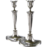 SALE Old Sheffield Plate Silver Candlesticks c.1790 Antique Georgian Crested Pair