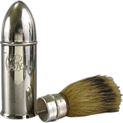 SALE Antique Sterling Silver Travel Shaving Brush c.1900 Bullet Shape