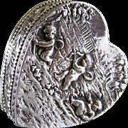 SALE PENDING Antique Silver 830 Heart Shaped Pill Box c.1900 Cherubs at Play