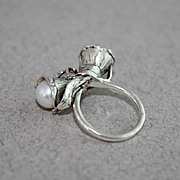 SOLD Ring Sterling Silver Moonstone Pearls