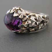 Ring Sterling Silver  Facet Amethyst Ring