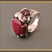 Ring Sterling Silver Two Rubies Mix Tourmalines