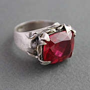 Ring Sterling Silver Red Topaz Ring