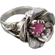 Ring Sterling Silver Facet Ruby