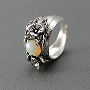 Sterling Silver Ring Natural Opal