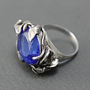 Ring Sterling Silver Tanzanite Color Quartz