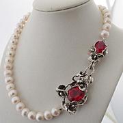 Pearl Cultured Necklace Sterling Silver Pendant Blood Red Topaz Color Quartz