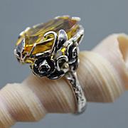 Ring Sterling Silver  Citrine Color Quartz