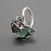 Sterling Silver Ring Green Amethyst