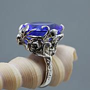 Sterling Silver Ring Tanzanite Quartz Luxury Art Deco Ring