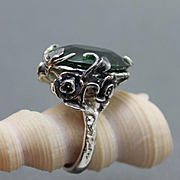 Silver Ring Green Amethyst Art Deco Style Ring