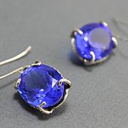 Earrings Sterling Silver Tanzanite Color Quartz