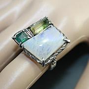 Ring Sterling Silver Natural Moonstone Tourmalines