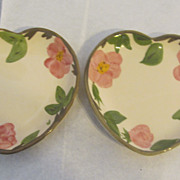 SALE PENDING Nice pair of Franciscan desert rose heart Candy nut dishes dish!!