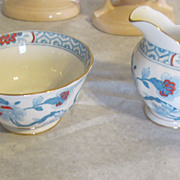 Tuscan Bone china creamer and sugar vintage blue floral stunning