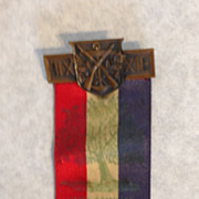1929 American Legion 11th annual convention pin back ribbon ct charter oak