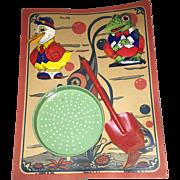 SALE PENDING J. Chein Toy 3 pc tin vintage sand toy set #49 On card!