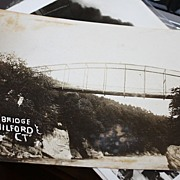 Rare Real photo New Milford Ct Connecticut Falls bridge postcard
