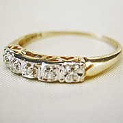 ...Vintage Art Deco VS/G Diamond 14 kt White and Yellow Gold Ring
