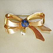 SALE CLEARANCE...Retro 10 Kt Gold, Cultured Sea Pearl and .75 Ceylon Sapphire Bow Pin