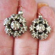 SALE LAST CHANCE..Antique Georgian Rose Cut (.50 carat) Diamond 10 Kt Gold Sterling Earrings