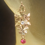 SOLD Antique Victorian 14 kt Gold .60 ct G-VS Diamond And Rbuy Earrings