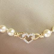 SALE VALENTINE'S....Vintage Diamond 14kt Gold Saltwater Pearl Heart Necklace