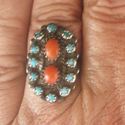 SALE CLEARANCE...Stunning 1940's Navajo Sterling Turquoise Coral Ring