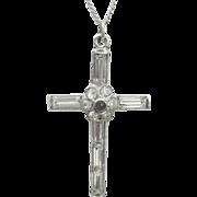 ...Vintage Sterling Art Deco Stanhope Crystal Cross Necklace
