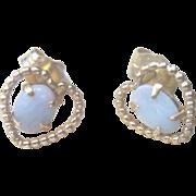 SALE LAST CHANCE..Vintage 14kt Opal Heart Stud Earrings