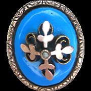 .Large Antique Georgian Enamel 14 kt/10kt Ring