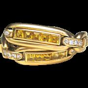 ...Vintage(30 GRAMS) 7 ct Natural Golden Sapphire Diamond 18 kt Bracelet