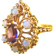 ...Vintage 14 kt Fiery Opals Amethyst Cocktail Ring