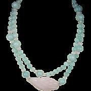 SALE Vintage Rose Quartz and Aquamarine Bead Necklace