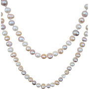 ..Vintage 46'' Multi Color Baroque 7mm-8mm Freshwater Pearl Necklace