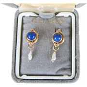 SALE SUMMER..Vintage 14kt Lapis and Non-cultured Freshwater Pearl Earrings