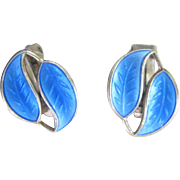 Vintage Sterling David Anderson Sterling Enamel Leaf Earrings