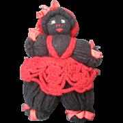 Vintage Black Americana Golliwag Yarn Doll