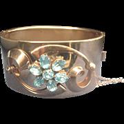 .Vintage 1940's 12kt GF Wide Cuff Rhinestone Bracelet