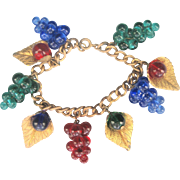 Antique Victorian Glass Grapes Fruit with Leaves Charm Bracelet