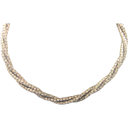 Vintage 1940's Retro Gold Plate Twisted Choker Necklace