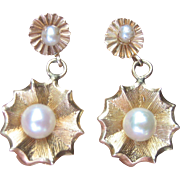 Vintage 14 kt Solid Gold Cultured Pearl Drop Earrings
